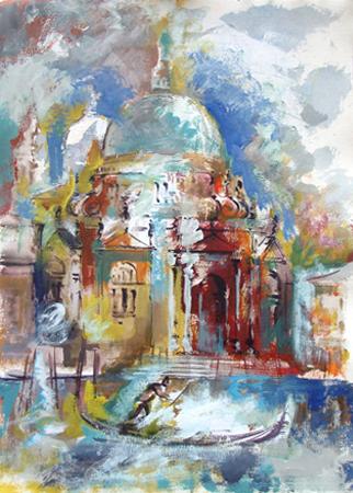 Quadro di Emanuele Cappello Basilica di Santa Maria della Salute, Venezia - olio carta